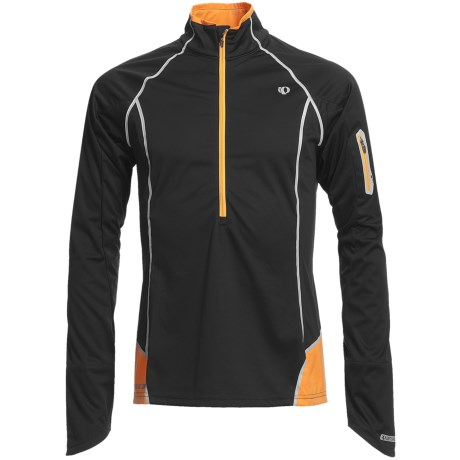 Pearl Izumi P.R.O. Fly Evo Pullover - Soft Shell, Zip Neck, Long Sleeve (For Men) in Black/Safety Orange