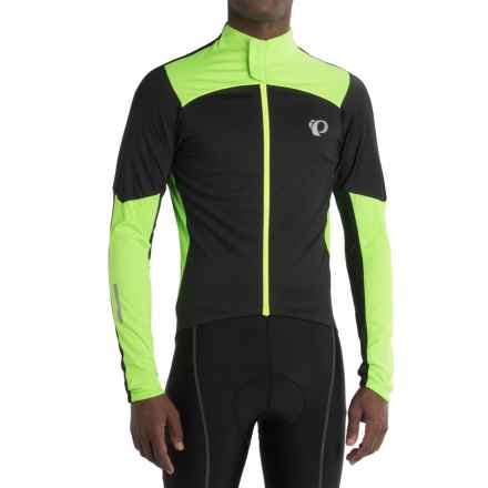 Pearl Izumi P.R.O. Pursuit Wind Cycling Jersey - Full Zip, Long Sleeve (For Men) in Black/Screaming Green - Closeouts
