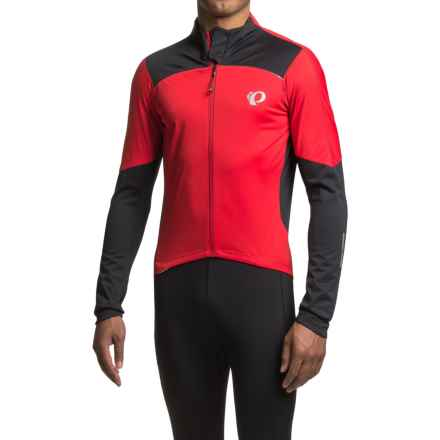 Pearl Izumi Pro Pursuit Wind Cycling Jersey - Full Zip, Long Sleeve (For Men) in True Red/Black - Closeouts