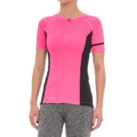 Pearl Izumi Pursuit Endurance Cycling Jersey - UPF 50+, Zip Neck, Short Sleeve (For Women) in Screaming Pink/Black