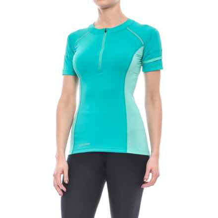 Pearl Izumi Pursuit Endurance Cycling Jersey - UPF 50+, Zip Neck, Short Sleeve (For Women) in Viridian Green/Aqua Mint - Closeouts
