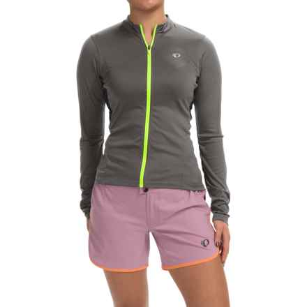 Pearl Izumi SELECT Cycling Jersey - Long Sleeve (For Women) in Smoked Pearl/Screaming Yellow - Closeouts