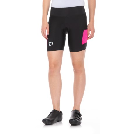 Pearl Izumi SELECT Escape Bike Shorts - UPF 50+ (For Women) in Black/Screaming Pnk Herrngbone