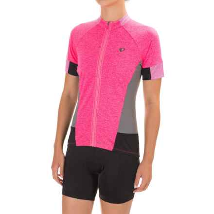 Pearl Izumi SELECT Escape Cycling Jersey - Full Zip, Short Sleeve (For Women) in Screaming Pink Parquet - Closeouts