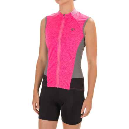 Pearl Izumi SELECT Escape Cycling Jersey - UPF 24+, Full Zip, Sleeveless (For Women) in Screaming Pink Parquet - Closeouts