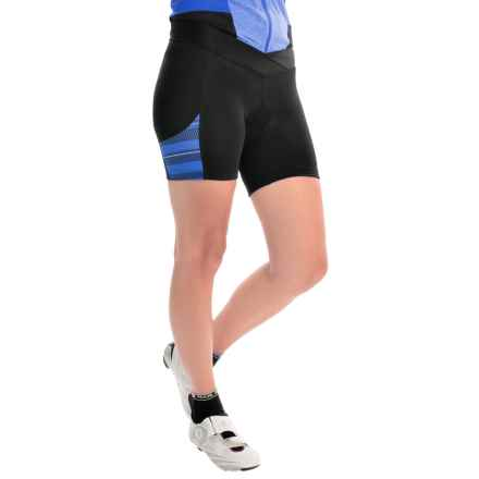 Pearl Izumi SELECT Escape Print Bike Shorts (For Women) in Black/Sky Blue Stripe - Closeouts