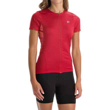 Pearl Izumi SELECT Print Cycling Jersey - UPF 50+, Full Zip, Short Sleeve (For Women) in Crimson Stripe - Closeouts