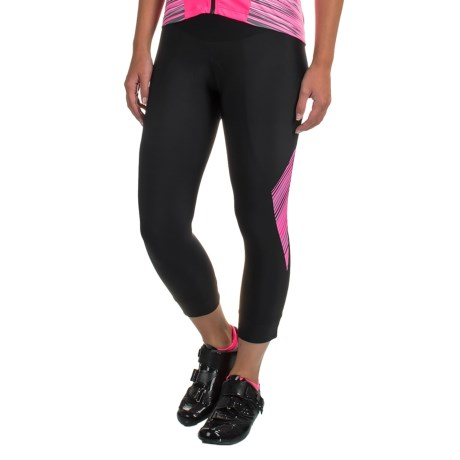 Pearl Izumi SELECT Pursuit 3/4 Cycling Tights - UPF 50+ (For Women) in Black / Screaming Pink Whirl