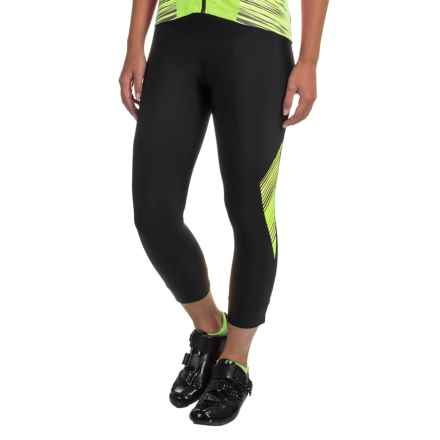 Pearl Izumi SELECT Pursuit 3/4 Cycling Tights - UPF 50+ (For Women) in Black / Screaming Yellow Whirl - Closeouts