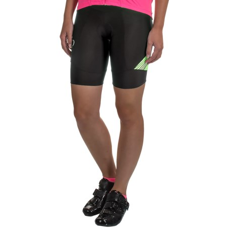 Pearl Izumi SELECT Pursuit Bike Shorts - UPF 50+ (For Women) in Black / Screaming Yellow Whirl