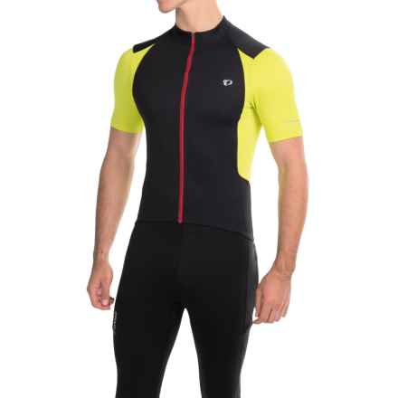 Pearl Izumi SELECT Pursuit Cycling Jersey - UPF 50+, Full Zip, Short Sleeve (For Men) in Black/Lime Punch - Closeouts