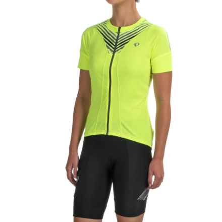 Pearl Izumi SELECT Pursuit Cycling Jersey - UPF 50+, Full Zip, Short Sleeve (For Women) in Screaming Yellow Whirl - Closeouts