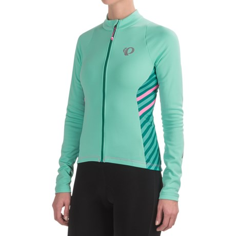 Pearl Izumi SELECT Pursuit Thermal Cycling Jersey - Long Sleeve (For Women) in Aqua Mint Stripe