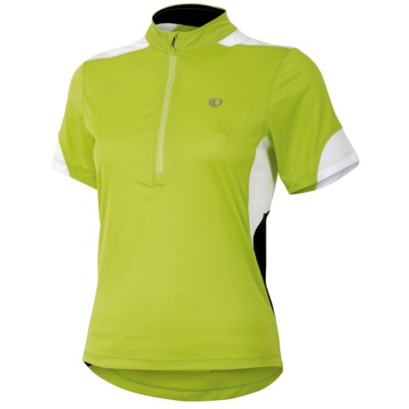 Pearl Izumi Sugar Jersey - UPF 50+, Zip Neck, Short Sleeve (For Women) in Lime