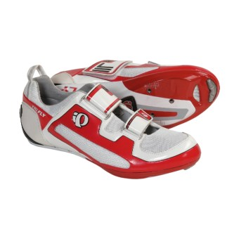Pearl Izumi Tri Fly II Triathlon Cycling Shoes - Carbon, 3 Hole (For Men) in White/Black