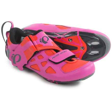 Pearl Izumi Tri Fly V Carbon Triathlon Cycling Shoes - 3-Hole (For Women) in Hot Pink/Black - Closeouts