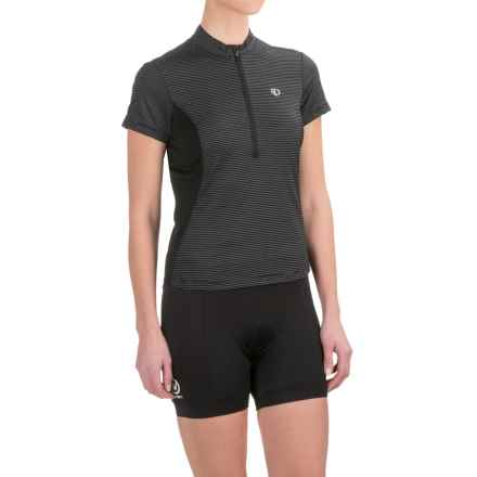 Pearl Izumi Ultrastar Cycling Jersey - UPF 50+, Zip Neck, Short Sleeve (For Women) in Black W/White Micro Stripe - Closeouts