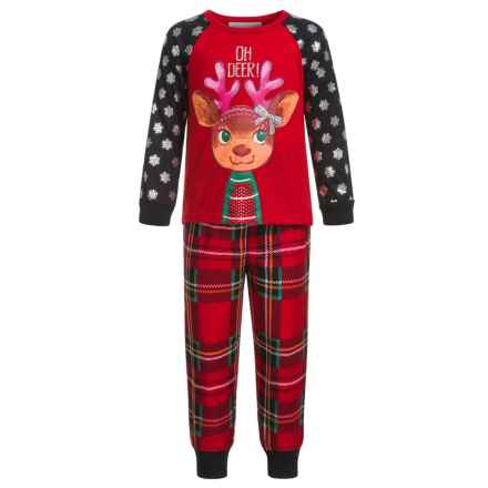 Peas & Carrots Oh Deer Holiday Plaid Pajamas - Long Sleeve (For Toddlers) in Red - Closeouts