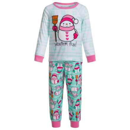 Peas & Carrots Winter Fun Snowman Pajamas - Long Sleeve (For Toddlers) in Turquoise - Closeouts