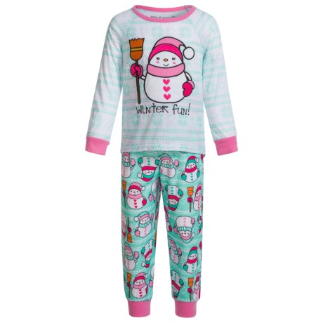 Peas & Carrots Winter Fun Snowman Pajamas - Long Sleeve (For Toddlers) in Turquoise
