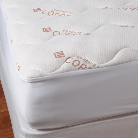 Pegasus Essence of Copper Knit Mattress Pad - Queen in White
