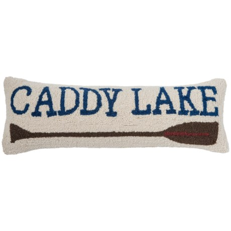 "Peking Handicraft, Inc. Caddy Lake Throw Pillow - 8x24"", Hand-Hooked Wool in Multi"