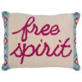 "Peking Handicraft, Inc. Free Spirit Throw Pillow - 14x18"", Hand-Hooked Wool"