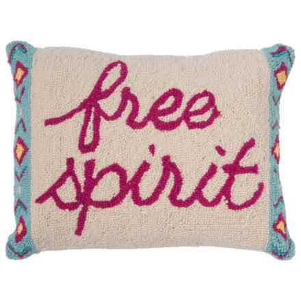 "Peking Handicraft, Inc. Free Spirit Throw Pillow - 14x18"", Hand-Hooked Wool in Multi - Closeouts"