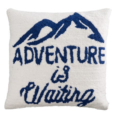"Peking Handicraft, Inc. Hand-Hooked Adventure is Waiting Throw Pillow - 16x16"" in Multi"