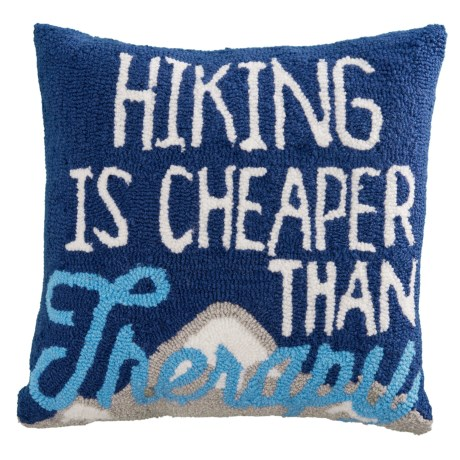 """Peking Handicraft, Inc. Hand-Hooked Hiking is Cheaper Than Therapy Throw Pillow - 16x16"""" in Multi"""