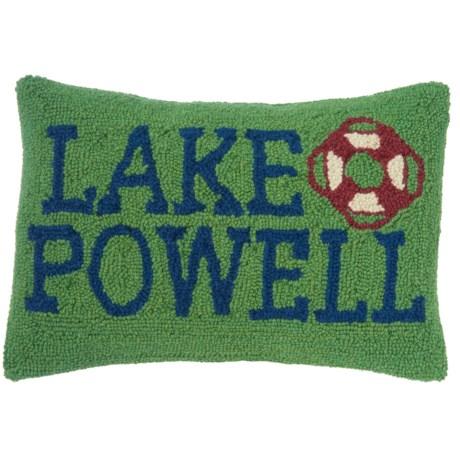 "Peking Handicraft, Inc. Lake Powell Throw Pillow - 12x18"", Hand-Hooked Wool in Multi"