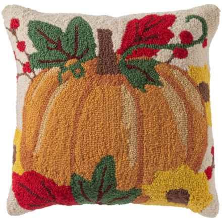 "Peking Handicraft, Inc. Orange Pumpkin Hook Throw Pillow - 16x16"" in Multi - Closeouts"