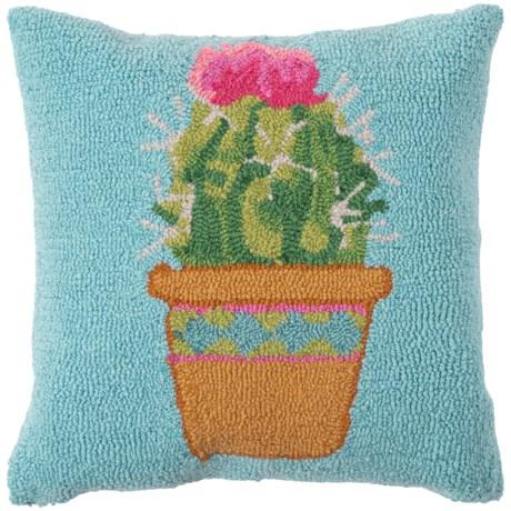 "Peking Handicraft, Inc. Potted Cactus Hook Throw Pillow - 16x16"" in Multi"