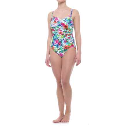 Penbrooke Birds of Paradise Surplice Mio One-Piece Swimsuit - Padded Cups (For Women) in White Floral - Closeouts
