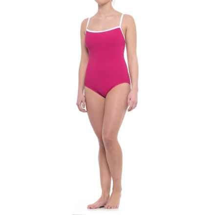Penbrooke Faille Basic One-Piece Swimsuit - Fully Lined (For Women) in Raspberry - Closeouts