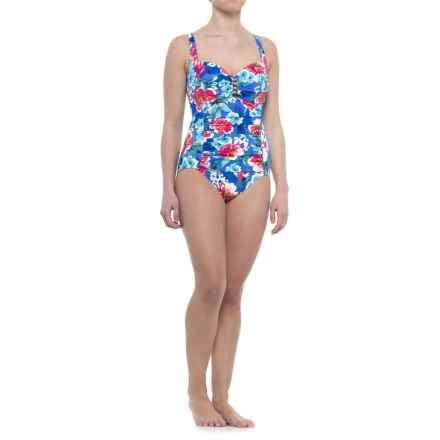 Penbrooke Garden Party Beaded Mio One-Piece Swimsuit - Built-In Molded Cups (For Women) in Blue Floral - Closeouts