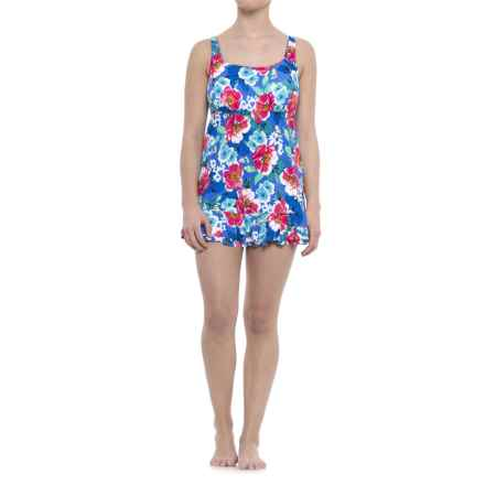 Penbrooke Garden Party Ruffle Swim Dress - Built-In Molded Cups (For Women) in Floral - Closeouts