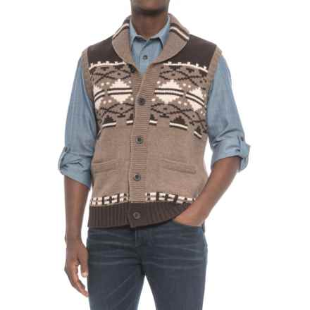 Pendleton 1920 Cardigan Sweater Vest - Sleeveless (For Men) in Grey/Brown - Closeouts