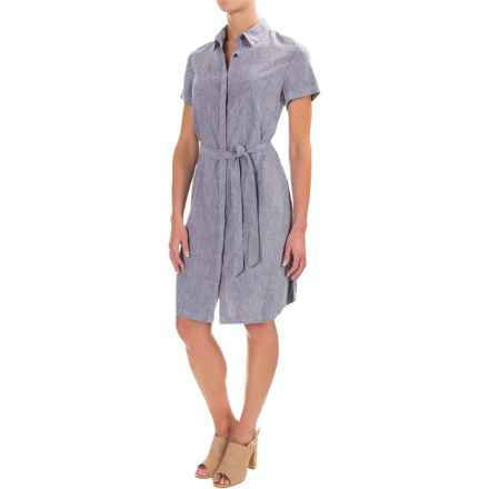 Pendleton Aimee Linen Dress - Knee Length, Short Sleeve (For Women) in Blue Chambray - Closeouts