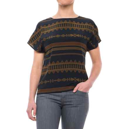 Pendleton Andrea Silk Shirt - Short Sleeve (For Women) in Navy Multi Print - Closeouts