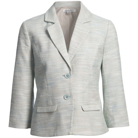 Pendleton Angela Cotton-Linen Jacket - 3/4 Sleeve (For Plus Size Women) in Poolside