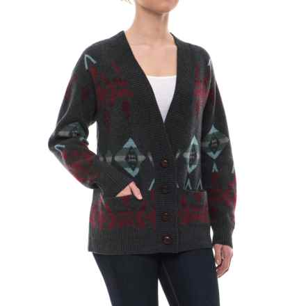 Pendleton Arrowhead Cardigan Sweater - Lambswool (For Women) in Charcoal/Berry Multi - Closeouts
