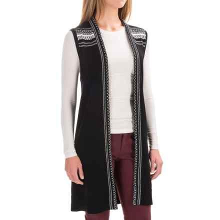 Pendleton Austin Cardigan Sweater Vest - Tunic Length (For Women) in Black/White - Closeouts