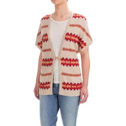 Pendleton Aztec-Print Cardigan Sweater - Short Dolman Sleeve (For Women) in Beige/Red - Closeouts
