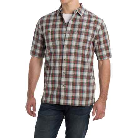Pendleton Barlow Outdoor Shirt - Short Sleeve (For Men) in Cream/Clay/Blue Plaid - Closeouts