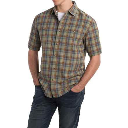 Pendleton Barlow Outdoor Shirt - Short Sleeve (For Men) in Spring Green/Blue Plaid - Closeouts