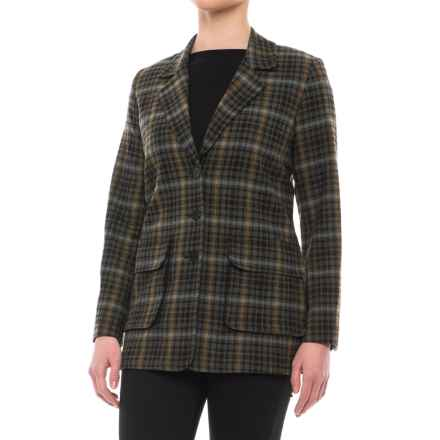 Pendleton Boyfriend Jacket - Virgin Wool (For Women) in Green Mix/Black Plaid - Closeouts