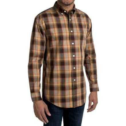 Pendleton Bridgeport Cotton Shirt - Button-Down Collar, Long Sleeve (For Men) in Brown/Orange Plaid - Closeouts