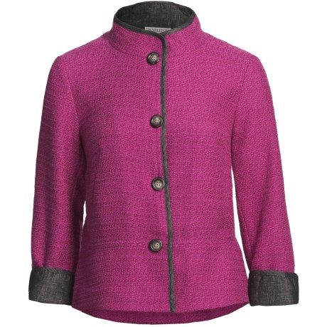Pendleton Brigitte Jacket - Chambray Trim (For Plus Size Women) in Cherry Pink/French Blue