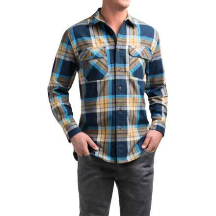 Pendleton Burnside Flannel Shirt - Long Sleeve (For Men) in Blue Gold Plaid - Closeouts